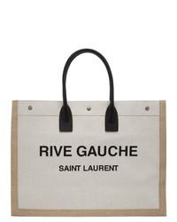 Sac fourre-tout en toile imprimé beige Saint Laurent