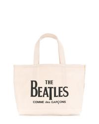 Sac fourre-tout en toile imprimé beige The Beatles X Comme Des Garçons