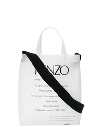 Sac fourre-tout en toile imprimé blanc et noir Kenzo