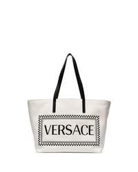 Sac fourre-tout en toile imprimé blanc et noir Versace