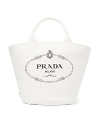 Sac fourre-tout en toile imprimé blanc Prada