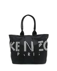 Sac fourre-tout en toile imprimé noir et blanc Kenzo