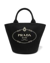 Sac fourre-tout en toile imprimé noir Prada