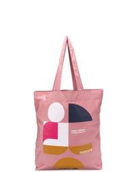 Sac fourre-tout en toile imprimé rose Isabel Marant