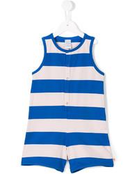 Salopette à rayures horizontales blanc et bleu