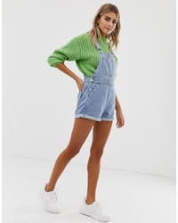 Salopette-short en denim bleu clair Bershka