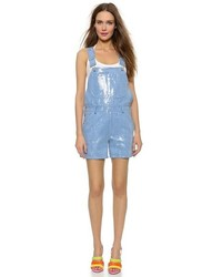Salopette-short en denim bleu clair Moschino