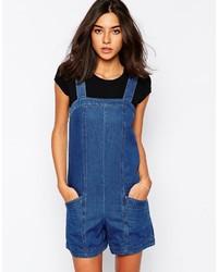 Salopette-short en denim bleue Warehouse