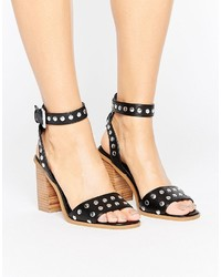 Sandales à talons à clous noires Asos