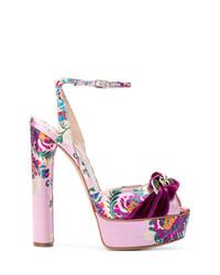 Sandales à talons à fleurs pourpres Casadei