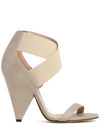 Sandales à talons élastiques beiges