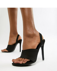 Sandales à talons élastiques noires Missguided