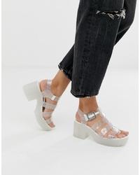 Sandales à talons en caoutchouc transparentes ASOS DESIGN