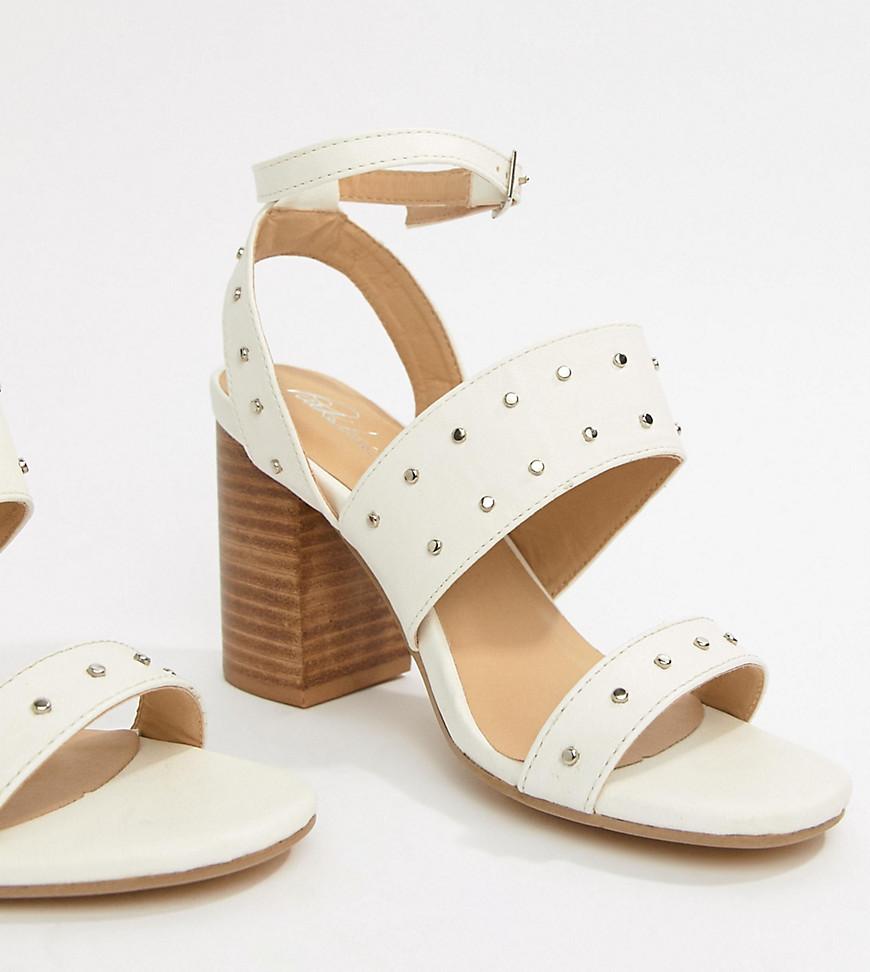 Sandales à talons en cuir à clous blanches Park Lane