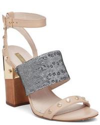Sandales à talons en cuir à clous grises