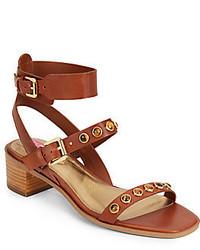 Sandales à talons en cuir à clous marron