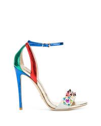Sandales à talons en cuir à clous multicolores Gianni Renzi