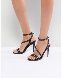 Sandales à talons en cuir à clous noires ASOS DESIGN