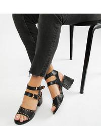 Sandales à talons en cuir à clous noires Lost Ink Wide Fit
