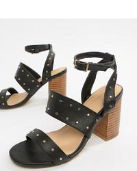 Sandales à talons en cuir à clous noires Park Lane