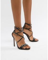 Sandales à talons en cuir à clous noires Public Desire