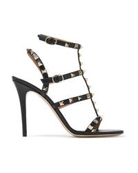 Sandales à talons en cuir à clous noires Valentino