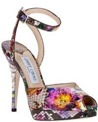 Sandales à talons en cuir à fleurs fuchsia