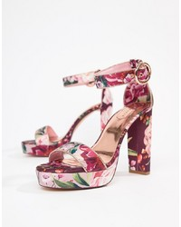 Sandales à talons en cuir à fleurs fuchsia Ted Baker