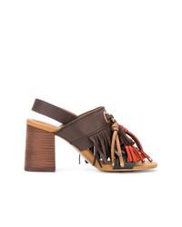 Sandales à talons en cuir à franges marron See by Chloe