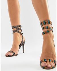 Sandales à talons en cuir à rayures horizontales multicolores