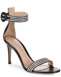 Sandales à talons en cuir à rayures horizontales noires et blanches