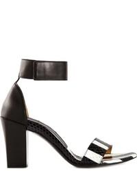 Sandales à talons en cuir à rayures verticales blanches et noires Chloé