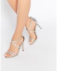 Sandales à talons en cuir argentées Aldo