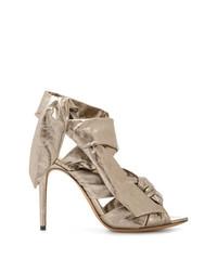 Sandales à talons en cuir argentées Alexandre Birman