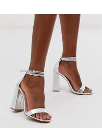 Sandales à talons en cuir argentées ASOS DESIGN