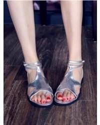 Sandales à talons en cuir argentées Choies