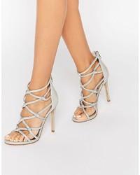 Sandales à talons en cuir argentées Dune