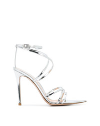 Sandales à talons en cuir argentées Gianvito Rossi
