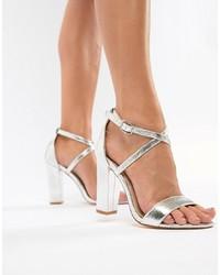 Sandales à talons en cuir argentées Glamorous