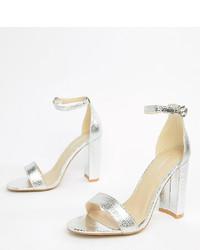 Sandales à talons en cuir argentées Glamorous Wide Fit