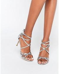 Sandales à talons en cuir argentées Head Over Heels