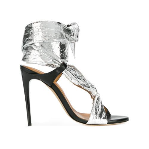 Sandales à talons en cuir argentées IRO