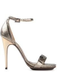 Sandales à talons en cuir argentées Lanvin