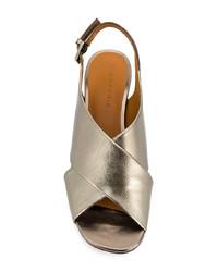 Sandales à talons en cuir argentées Clergerie