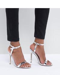 Sandales à talons en cuir argentées Missguided
