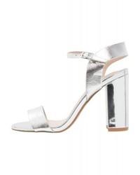 Sandales à talons en cuir argentées New Look