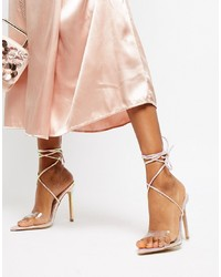 Sandales à talons en cuir argentées Public Desire