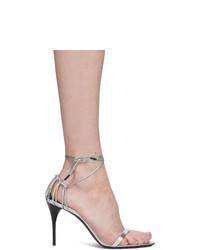 Sandales à talons en cuir argentées Saint Laurent