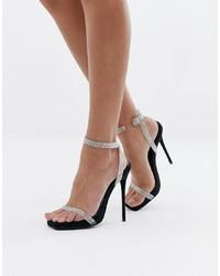 Sandales à talons en cuir argentées SIMMI Shoes
