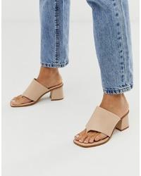 Sandales à talons en cuir beiges ASOS DESIGN